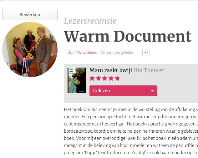 Knipsel Recensie Mam raakt kwijt recensie Myra Steens www.neusvoorcontact.nl
