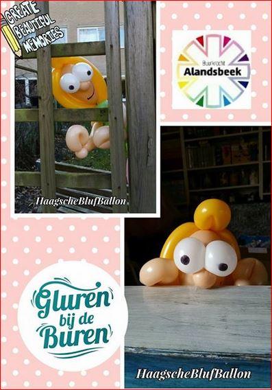 Knipsel Miss Tie Gluren bij de buren balonnen interactief theater