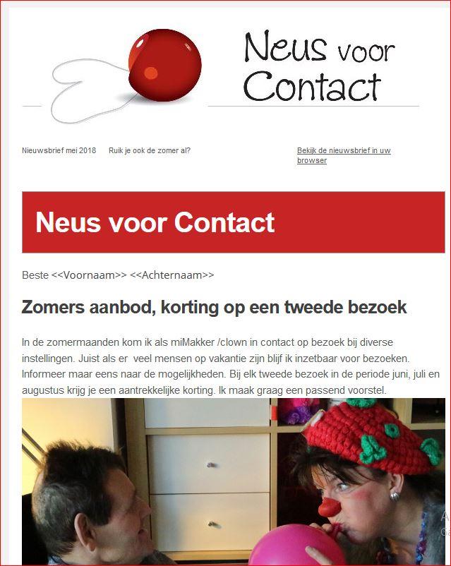 Printscreen van Nieuwsbrief Neus voor Contact 0649842616