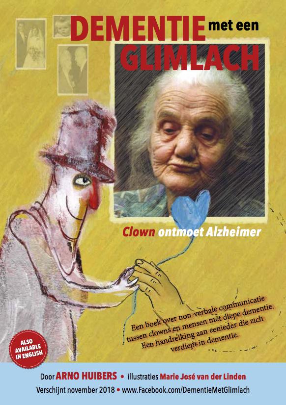 Voorzijde flyer Boek dementie en de clown Arno Huibers